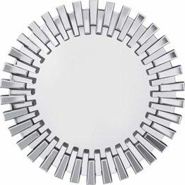 Kare Design Spiegel Ø92cm großer runder XXL Wandspiegel mit Silberrahmen moderner Design Dekospiegel  (H/B/T) 92x92x4,5cm