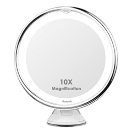Kosmetikspiegel LED Beleuchtet mit 10x Vergrößerung und Saugnapf Schwenkbar Makeup Spiegel Schminkspiegel für Unterwegs
