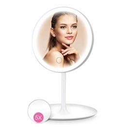 Kosmetikspiegel mit Beleuchtung LED Schminkspiegel mit licht mit 5X Vergrößerung, Tischspiegel Licht 90 °Schwenkbar USB Aufladbares Make up Spiegel
