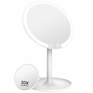 Kosmetikspiegel mit Beleuchtung Vergrößsung und Akku Schminkspiegel mit Licht Make Up Spiegel Via Touch-Screen und 90° Schwenkbar