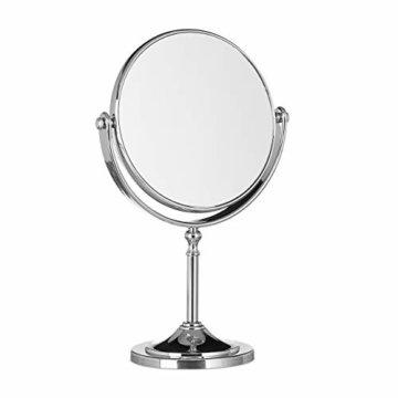 Kosmetikspiegel Vergrößerung Schminkspiegel stehend Make Up Spiegel rund zweiseitig HBT: 28x18x10cm silber