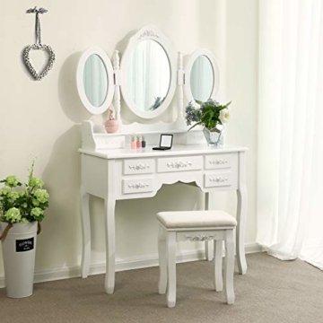 Kosmetiktisch Schminktisch mit 3 Spiegel und Hocker 7 Schubladen Unterteiler Kippsicherung luxuriös 145 x 90 x 40 cm weiß