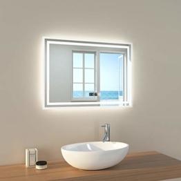 LED Badspiegel Badezimmerspiegel mit Beleuchtung 3 Lichtfarben kaltweiß Neutral Warmweiß Lichtspiegel Badezimmerspiegel mit Touchschalter+Beschlagfrei+Uhr