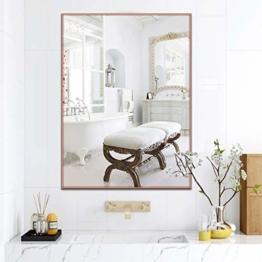 Luxus Rose Gold Wandspiegel Rechteck Metallrahmen Wand Spiegel 60 X 40 cm HD Schlafzimmer Wohnzimmer Salon Gold