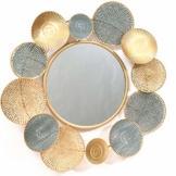 Luxus-Rundspiegel Goldener Wandspiegel Moderner Spiegel Hängender Designspiegel Wand Flur Eingang Wandbild 77cm