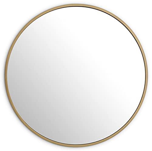 Luxus Spiegel Messingfarben Ø 120 cm Runder Edelstahl Wandspiegel Garderoben Spiegel - Wohnzimmer Spiegel