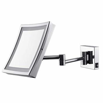 Make-Up-Rasierspiegel Spiegel zur Wandmontage LED-beleuchtet luxuriöser Badezimmerspiegel für Hotel-Waschtisch 21,6 cm Vergrößerung