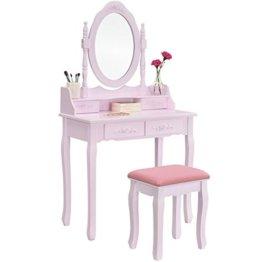 Rosaner Schminktisch Frisiertisch Spiegel Hocker Schubladen rosa Landhausstil Holz Mädchen Kinder Kosmetiktisch Kommode
