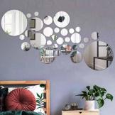 Runden Spiegel Wandaufkleber Selbstklebend Kreise Acrylspiegel 30 Stück Wandsticker DIY Kristall Wandtattoos Dekorative Wandspiegel Aufkleber Für Wohnzimmer Schlafzimmer Dekor