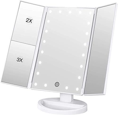 Schminkspiegel 3 Seiten Kosmetikspiegel Tischspiegel LED Helligkeit Vergrößerungsspiegel Drehbar Faltbar Makeup Spiegel für Schminken Rasieren