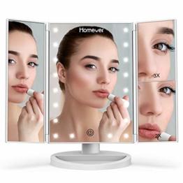 Schminkspiegel Kosmetikspiegel Tischspiegel mit LED Lampenperlen Faltbar Dimmbar Makeup-Spiegel Make-Up Weiß