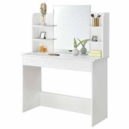 Schminktisch Bella Kosmetiktisch in Weiß Frisiertisch aus Holz mit großem Spiegel großer Schublade 4 Ablagefächer
