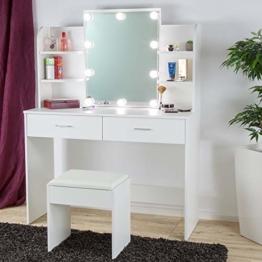 Schminktisch Ella Weiß mit Hocker LED-Beleuchtung & Spiegel 2 Schubladen Fächern Frisiertisch Kosmetiktisch