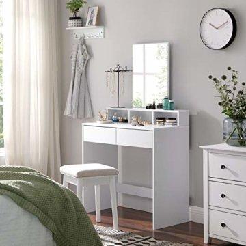Schminktisch Frisiertisch mit Spiegel 2 Schubladen, Kosmetiktisch mit offenen Fächern, Frisierkommode für Make-up modern weiß