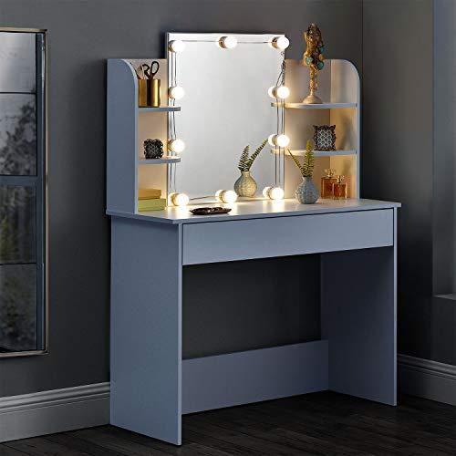 Schminktisch Kosmetiktisch in Weiß Frisiertisch aus Holz mit Spiegel Schublade LED-Beleuchtung & 4 Ablagefächern 108 x 40 x 140 cm