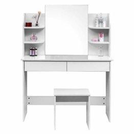 Schminktisch Kosmetiktisch mit Hocker und Spiegel Hochglanz Tischplatte 108x40x143cm Frisierkommode Schminkspiegel