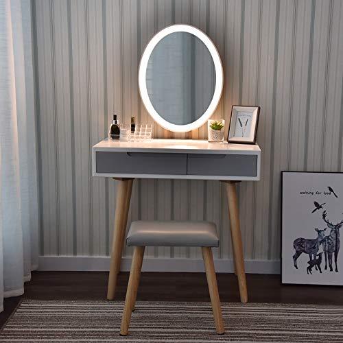 Schminktisch LED-Beleuchtung Kosmetiktisch mit gepolstertem Hocker Frisiertisch Spiegel Schublade Kommode Make-up Tisch Modern