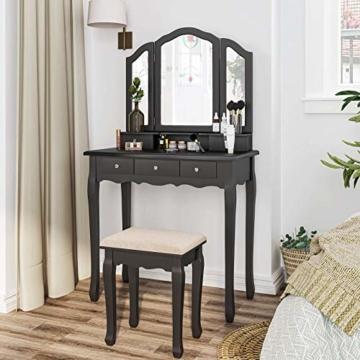 Schminktisch mit 3 Spiegel und Hocker Frisiertisch mit 5 Schubladen, Frisierkommode für Schlafzimmer, Schwarz