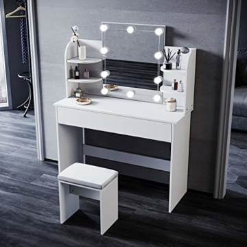 Schminktisch mit Beleuchtung Hocker weiß Kommode mit Led Licht Spiegel Frisiertisch Kosmetiktisch 1080x400x1400mm