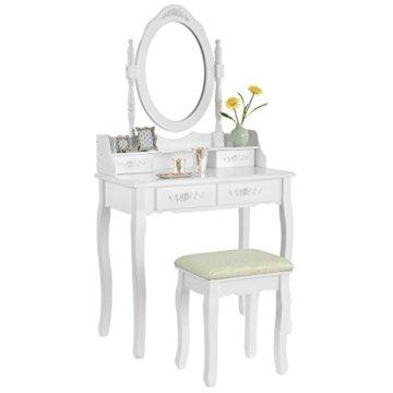 Schminktisch mit Spiegel, Hocker Schubladen weiß Holz Frisiertisch für Mädchen und Damen Kosmetiktisch Landhausstil