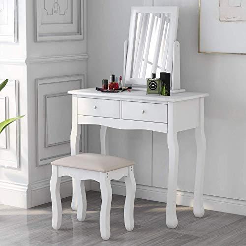 Schminktisch mit Spiegel und Hocker Kunstleder Frisiertisch Set Schreibtisch mit 2 Schubladen Kosmetiktisch Damen Mädchen Weiß