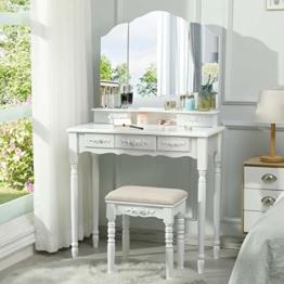 Schminktisch Weiß mit 3 Spiegel Frisiertisch, Schminktisch mit Gepolstertem Hocker aus Eichenbeinen für Schlafzimmer