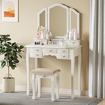 Schminktisch Weiß mit 7 Schubladen Dreiweg Spiegel Schminktisch, Frisiertisch für Schlafzimmer mit Gepolstertem Hocker