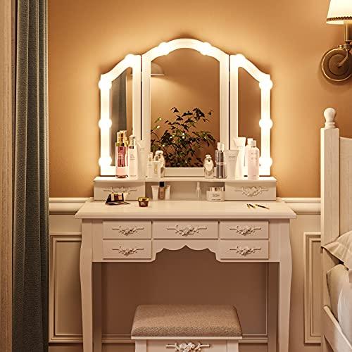 Schminktisch Weiß mit Beleuchtung Frisiertisch Spiegel und 7 Schubladen, Schminktisch mit Hocker für Schlafzimmer
