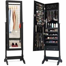 Schmuckschrank stehend Spiegelschrank abschließbar Schmuckregal mit Spiegel Standspiegel mit Schubladen Schmuck Spiegelschrank (Schwarz)