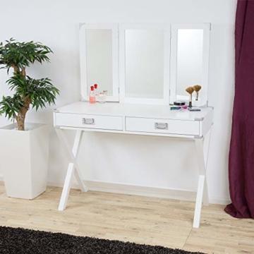 Schöner Designer Schminktisch Kosmetik Weiß mit Spiegel und 2 Schubladen, Frisiertisch Kosmetiktisch