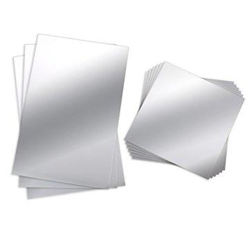 Spiegelblätter 9 Stück Flexibler Kunststoff-Spiegel Glas Spiegel Selbstklebende Fliesen Wandaufkleber