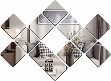 Spiegelfliesen Wandspiegel Fliesenspiegel Selbstklebend Spiegel-Wandaufkleber Spiegelset 12 Stück Wandbild für Zuhause