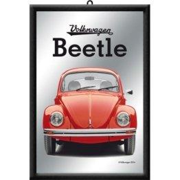 VW Beetle Barspiegel Nostalgic Art, Auto Käfer Volkswagen Bar-Spiegel mit Rahmen, Bunt, 20x30