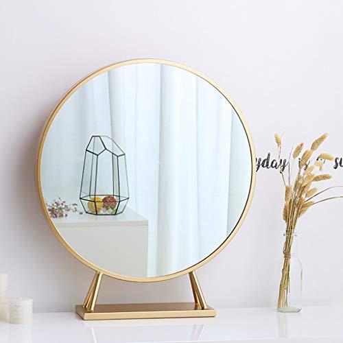 Wandspiegel Badspiegel Nordic Schmiedeeisen Badezimmerspiegel, Home Make-up Spiegel mit Sockel, Kosmetikspiegel, Rasierspiegel, Luxus Gold runden Spiegel, Schlafzimmer Dekoration (40CM, 50CM, 60CM)