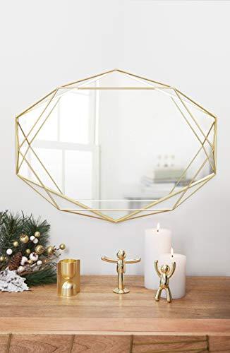Wandspiegel für horizontale oder vertikale Anbringung, Metall, Gold, Designerspiegel