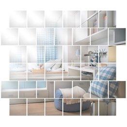 Wandspiegel Spiegelfliesen Selbstklebend 15x15cm, 32 Stück Quadratische Spiegel Silber für Badezimmer, Küche, Wohnzimmer, Umkleidekabine, Büro