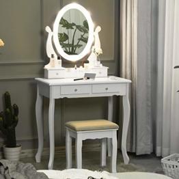 Weißer Schminktisch mit Spiegel Beleuchtung Frisiertisch mit Ovalem Spiegel und Hocker für Mädchen und Frauen