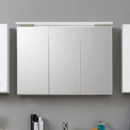 3D Spiegelschrank Badschrank in Weiß modern Spiegel mit LED Beleuchtung Licht Spiegeltüren Badezimmer Bad