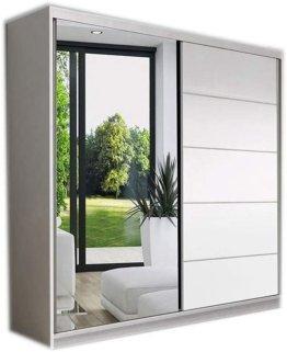 Kleiderschrank Spiegel Schwebetürenschrank Modern 2-türiger Schrank Gaderobe Schiebtüren BxHxT 150x200x61
