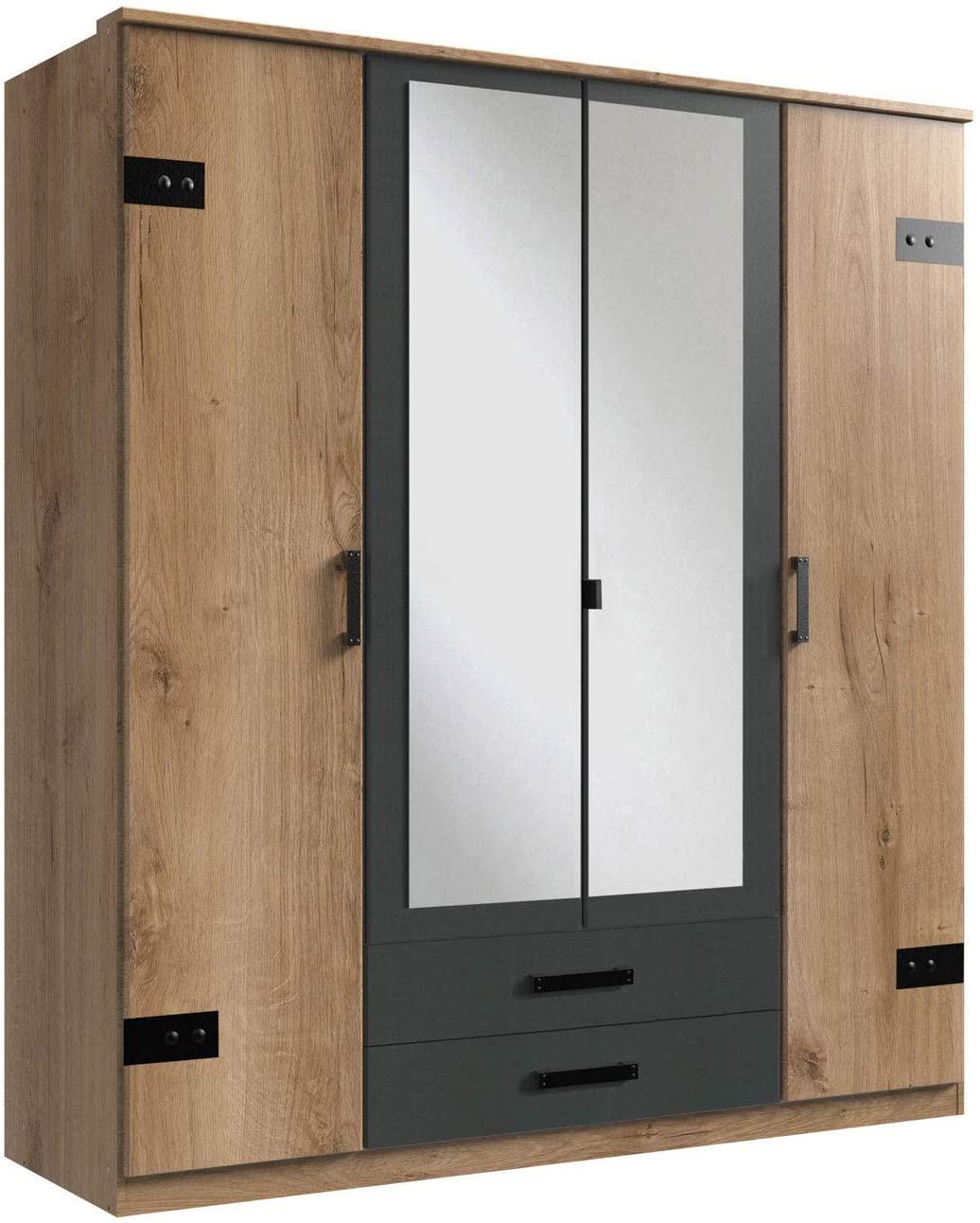 Kleiderschrank mit Spiegel-Türen Planken-Eiche Dekor Graphit-Grau, 180 cm Drehtürenschrank 4-türig mit 2 Schubladen im Industrial Stil