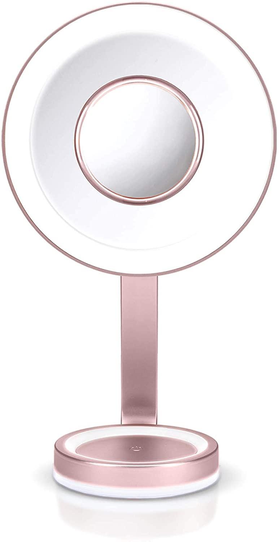 LED Beauty Luxus Makeup Spiegel mit edlem Satin-Finish dimmbarer LED Beleuchtung 10-fach & 5 Lichteinstellungen