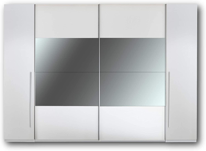 MEGA Eleganter Spiegel Kleiderschrank mit viel Stauraum Vielseitiger Schwebetürenschrank mit Spiegel – 315 x 226 x 60 cm (B/H/T) in Weiß