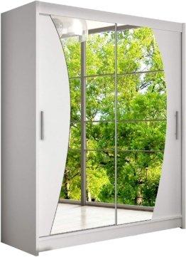 Moderner Spiegel Schwebetürenschrank, Kleiderschrank mit Spiegel, Schlafzimmerschrank, Schiebetürenschrank, Garderobe, Schlafzimmer (Weiß)