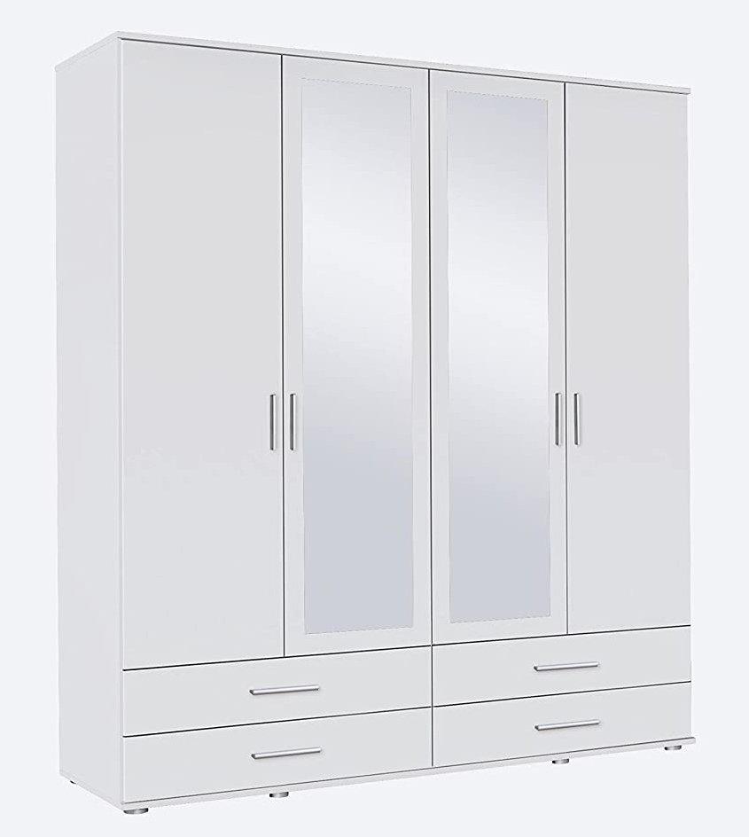 Schrank Drehtürenschrank mit Spiegel 4 Schubladen 4-türig 2 Einlegeböden, 1 Kleiderstange, Weiß, 52 x 168 x 188 cm