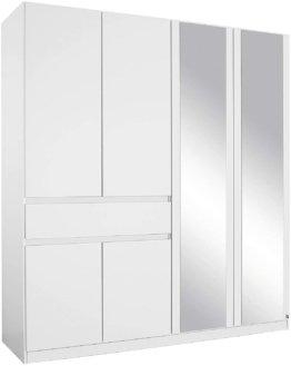 Spiegel Schrank Kleiderschrank Drehtürenschrank in Weiß mit Spiegel Schubladen 6-türig, 3 Einlegeböden Kleiderstange BxHxT 181x197x54 cm