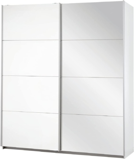 Spiegel Schrank Kleiderschrank Schwebetürenschrank Weiß mit Spiegel 2-türig, 2 Kleiderstangen, Hakenleiste, Türdämpfer, BxHxT 181x210x62 cm