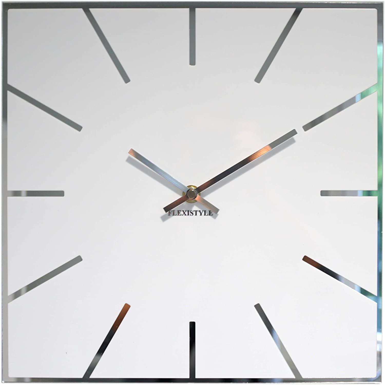 Spiegel Wanduhr Designuhr Uhr 30 cm modern, Design Acrylglas und Acrylspiegel, Wohnzimmer, Schlafzimmer (Weiß)