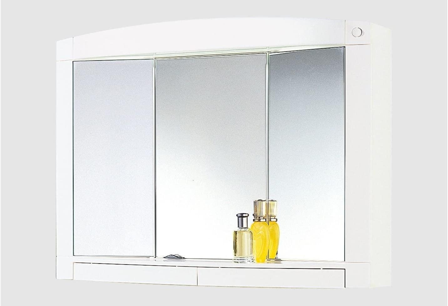 Spiegelschrank Badschrank Badspiegel Schrank 3 Spiegeltüren mit Ablage Licht Schalter Weiß Modern
