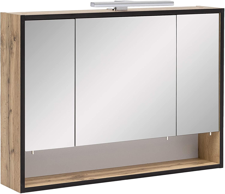 Spiegelschrank Badschrank mit Spiegeltüren Licht Lampe Bad Spiegel Schrank eiche landhaus Dekor 80,0 x 16,0 x 65,6 cm