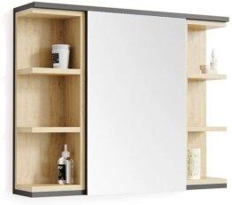 Spiegelschrank mit Ablage Badschrank Holz Regal Spiegeltür 80 x 64 Anthrazit Eiche Spiegel Badspiegel Bad Wandspiegel